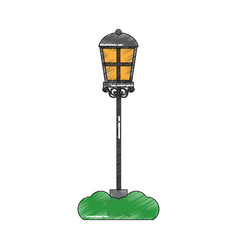street lamp light with grass decoration vector image