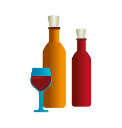 Wine cup an bottle isolated icon vector