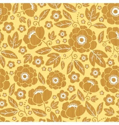 Wooden flowers seamless pattern background border vector image vector image