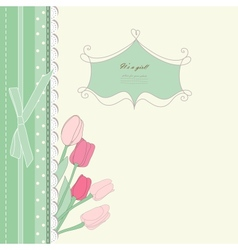 Vintage card with pink tulip vector