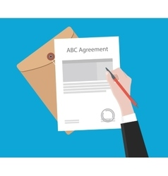 Signing important agreement letter with a pen vector
