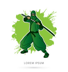 Green ninja and sword vector