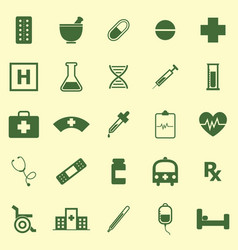 Pharmacy color icons on yellow background vector
