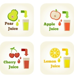 Summer holidays set with fruit juices vector