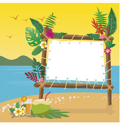 Summer holidays on the beach with copy space vector