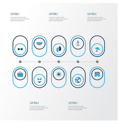Season colorful icons set collection of sailing vector