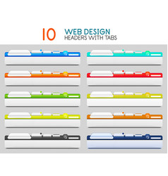 set of web site headers with tabs vector image