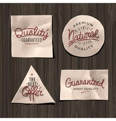 Premium quality craft paper labels vector