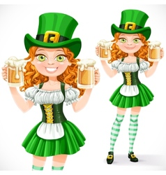 Beautiful girl leprechaun hold a two goblets of vector image