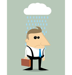 Cartoon businessman in rain under a cloud vector