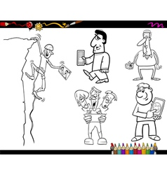People and technology coloring page vector