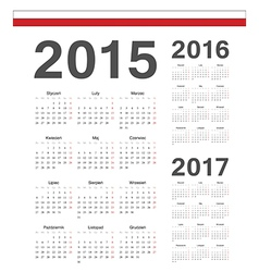 Polish simple calendars 2015 2016 2017 vector