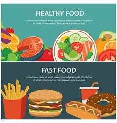 Healthy food and fast food concept banner vector
