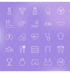 Sport and healthy lifestyle line icons set vector