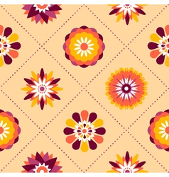 Seamless retro pattern of different summer flowers vector