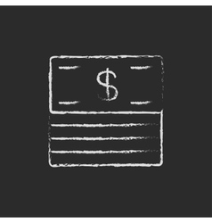Stack of dollar bills icon drawn in chalk vector