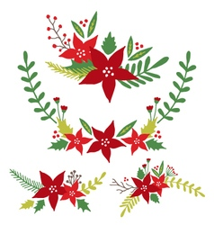 Christmas flowers floral arrangements vector