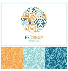 Logo design template for pet shops vector