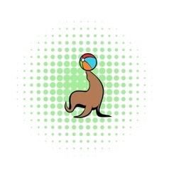 Fur seal circus comics icon vector