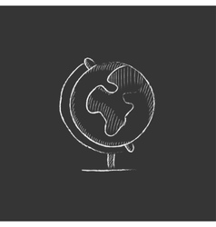 World globe on stand drawn in chalk icon vector