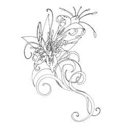 Graphic lilies vector