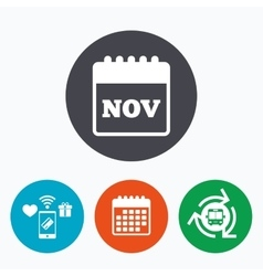 Calendar sign icon november month symbol vector