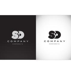 Alphabet letter S D balck white grey logo icon vector image