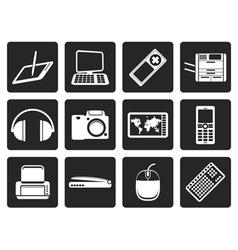Black hi-tech technical equipment icons vector