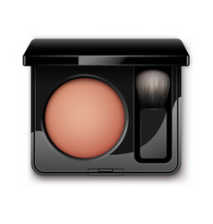 Blusher in black plastic case with makeup brush vector