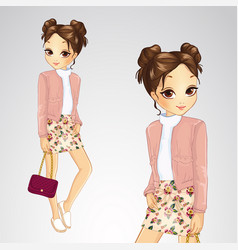 brunette girl in pink jacket vector image