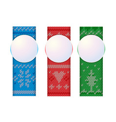 christmas vertical banners knitted ornament vector image