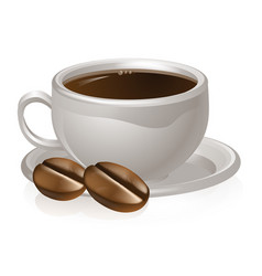 cup of coffee and beans vector image