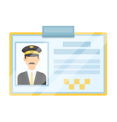 Driver document taxiplastik card taxi driver with vector