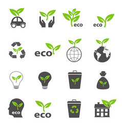 ecology and nature green icons set vector image vector image