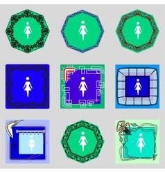 Female sign icon Woman human symbol Women toilet vector image
