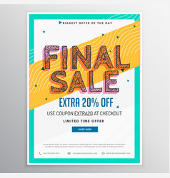 Final sale discount voucher in horizonatal style vector