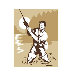 fisherman with rod and reel vector image vector image
