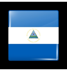 Flag of nicaragua glossy icon square shape vector