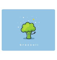 Flat icon of broccoli cute vegetable cartoon vector