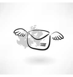 flying envelope grunge icon vector image
