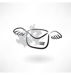 Flying envelope grunge icon vector