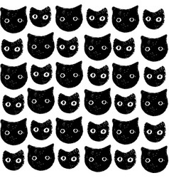 Funny kitten pattern hand drawn art vector