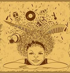Girl dreams to be a musician vector