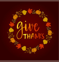 give thanks season hand drawn vector image