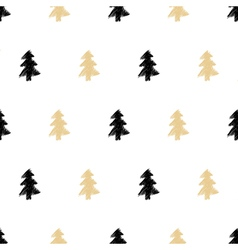 hand drawn Christmas tree seamless pattern in vector image vector image