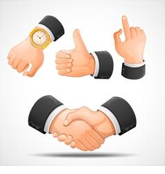 handshake and hand gestures vector image vector image