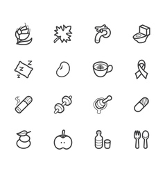 healthy element black icon set2 on white backgroun vector image vector image