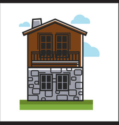 House made with stone and wood vector
