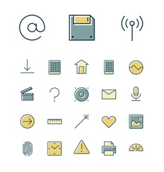 Icons thin blue interface ui vector