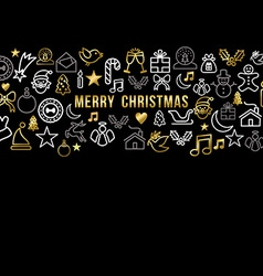 Merry christmas pattern with gold line icons vector image vector image